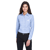 Devon & Jones Ladies Crown Woven Collection Glen Plaid Shirt